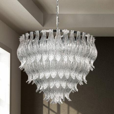 LAMPADARIO con foglie in vetro di Murano trasparente e graniglia di cristallo, montatura in cromo lucido o oro 24 carati: Petali 8002/
