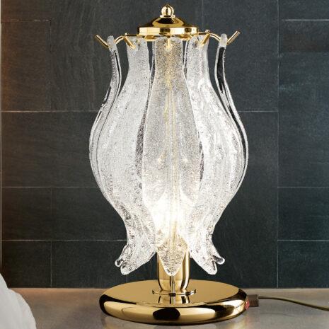 LAMPADA DA TAVOLO con foglie in vetro di Murano trasparente e graniglia di cristallo, montatura in cromo lucido o oro 24 carati: Petali 8002/L