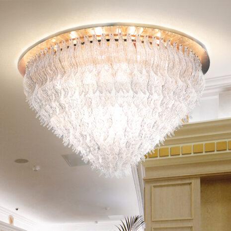 PLAFONIERA con foglie in vetro di Murano trasparente e graniglia di cristallo, montatura in cromo lucido o oro 24 carati: Petali 8002/PL130