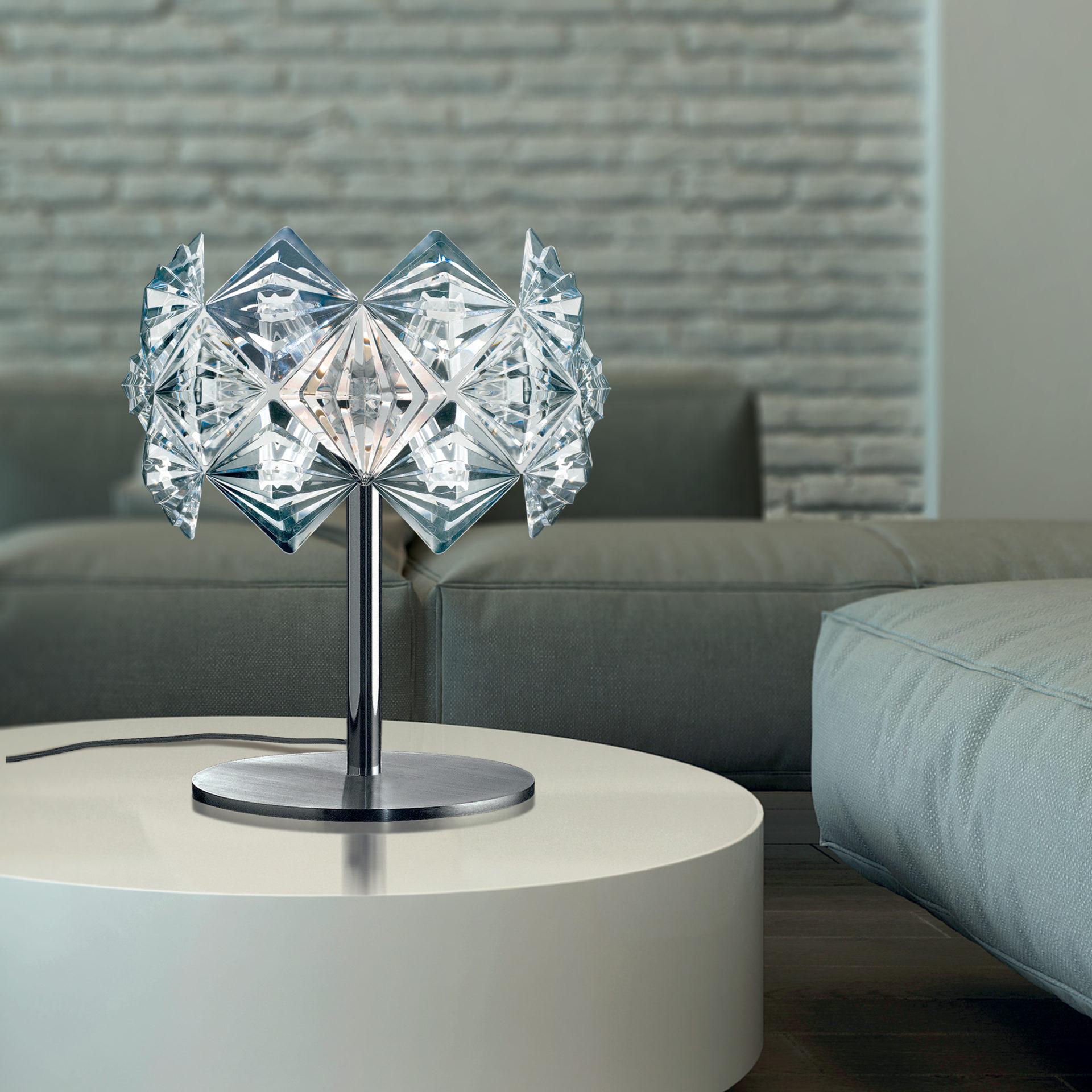 LAMPADA DA TAVOLO dal diffusore in Acrilico trasparente, sfaccettato, molto brillante e leggerissimo di forma rotonda: Prisma 820/LP