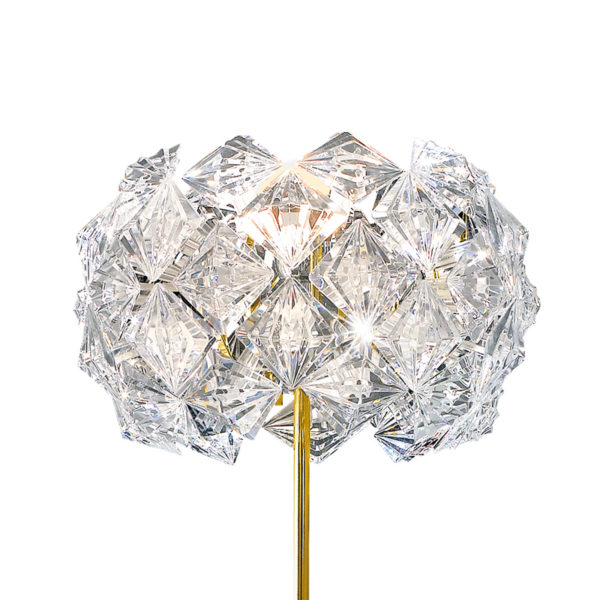 LAMPADA DA TERRA dal diffusore in Acrilico trasparente, sfaccettato, molto brillante e leggerissimo di forma rotonda: Prisma 820/LT