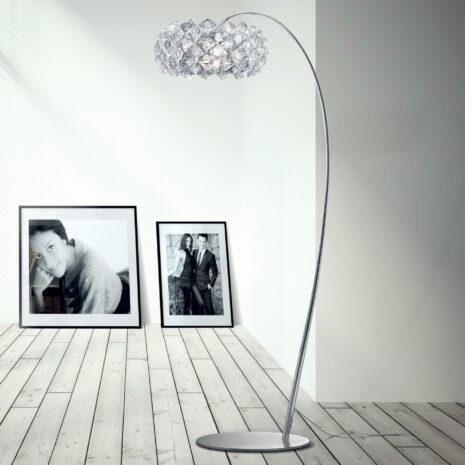 LAMPADA DA TERRA dal diffusore in Acrilico trasparente, sfaccettato, molto brillante e leggerissimo di forma rotonda: Prisma 821/LT