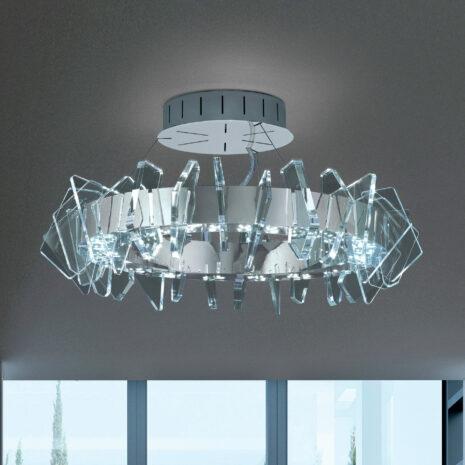 PLAFONIERA a LED, con montatura in oro 24 carati o cromo lucido e dettagli sagomati in Acriclico trasparente: Eos 830/PL