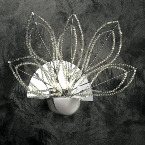 APPLIQUE con petali decorativi in cristallo purissimo e montature in cromo lucido o oro lucido 24 carati: Girasole 840/APP