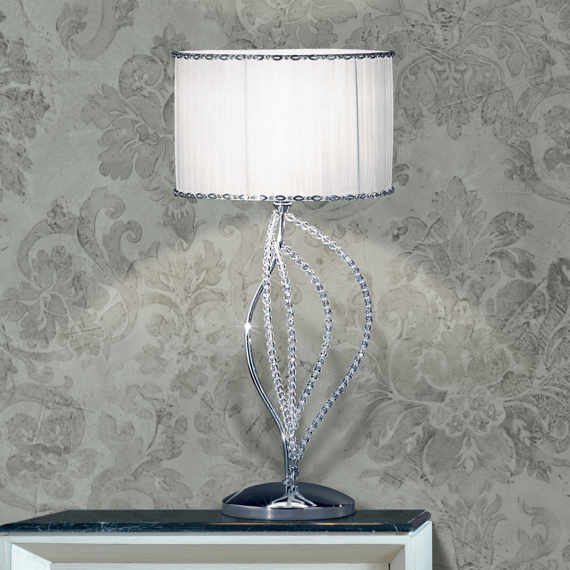 LAMPADA DA TAVOLO con petali decorativi in cristallo purissimo e montature in cromo lucido o oro lucido 24 carati: Girasole 840/L1