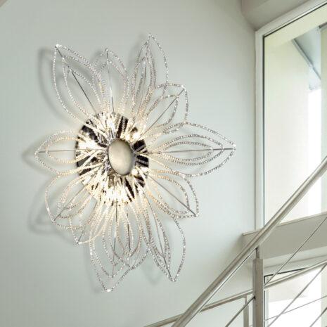 PLAFONIERA con petali decorativi in cristallo purissimo e montature in cromo lucido o oro lucido 24 carati: Girasole 840/PL