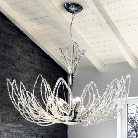 SOSPENSIONE con petali decorativi in cristallo purissimo e montature in cromo lucido o oro lucido 24 carati: Girasole 840/S