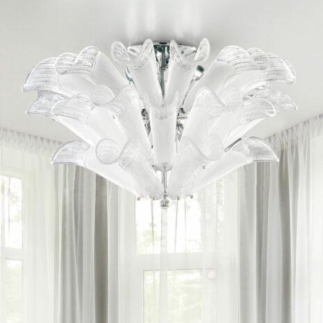 PLAFONIERA con petali in vetro di Murano, disponbili in tre colori, anche combinabili, montatura in cromo lucido o oro 24 carati: Petali 9007/PL