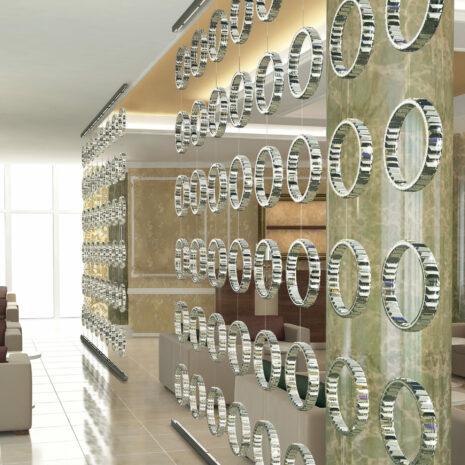 DIVISORIO a LED, con molteplici anelli concatenabili in cristallo purissimo e finitura oro lucido 24 carati o cromo lucido: Fedi 9250/C