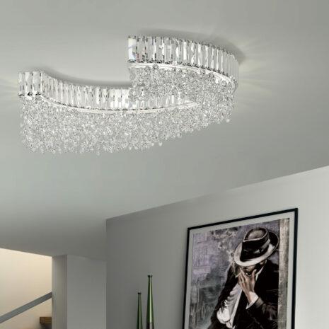 PLAFONIERA con struttura semicircolare e pendenti in cristallo trasparenti o colorati, montatura in cromo lucido o oro 24 carati: Diadema 9260/PL
