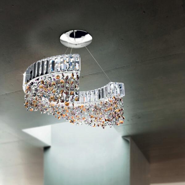 PLAFONIERA con struttura semicircolare e pendenti in cristallo trasparenti o colorati, montatura in cromo lucido o oro 24 carati: Diadema 9260/S
