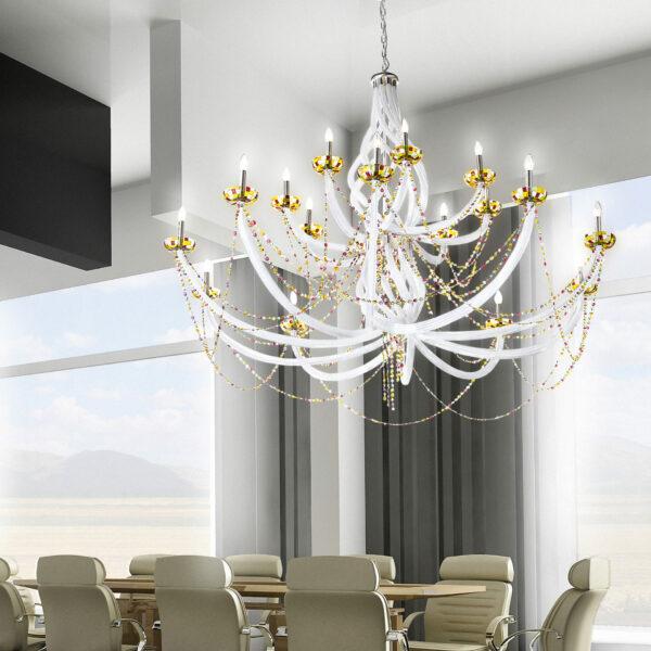 Lampadario dalle ampie braccia in vetro di Murano disponibili in due colori, con tazzine in vetro di Murano multicolore: Intrecci 1100-18
