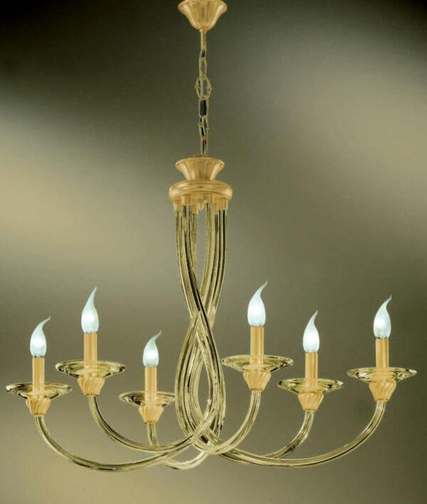 Lampadario dalle ampie braccia in vetro di Murano disponibili in due colori, con tazzine in cristallo: Intrecci 2030-6