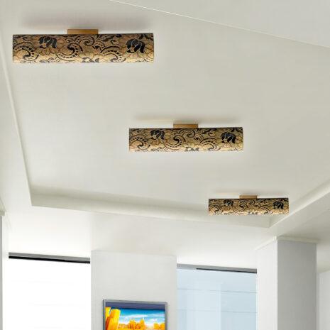 Applique dal design contemporaneo in vetro soffiato a mano e decoro in oro o argento: Pizzo 482-APP