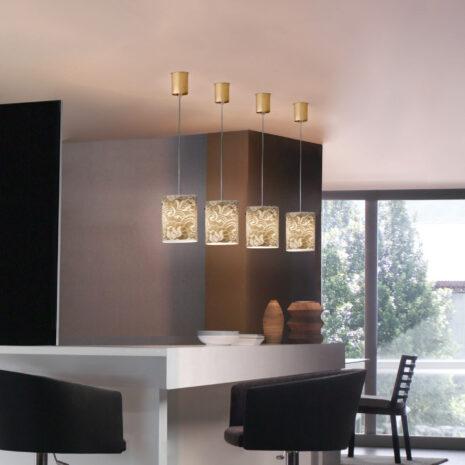 Sospensione dal design contemporaneo in vetro soffiato a mano e decoro in oro o argento: Pizzo 482-S1