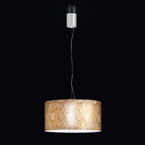 Sospensione dal design contemporaneo in vetro soffiato a mano e decoro in oro o argento: Pizzo 482-S48