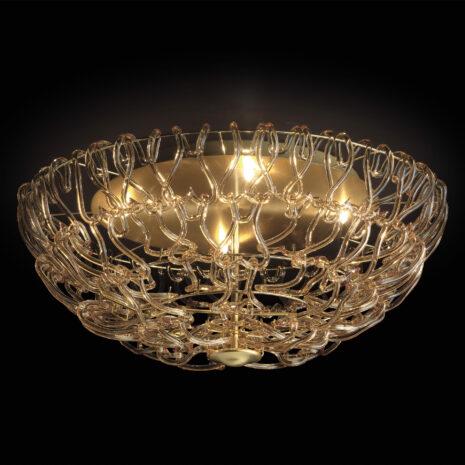 Plafoniera composta da il concatenarsi di svariati ganci di vetro disponibile in 5 diversi colori: Legami 500-PL60