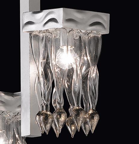 Sospensione dai decori in vetro di Murano variopinti, struttura in foglia oro o foglia argento: Alaska 530-S