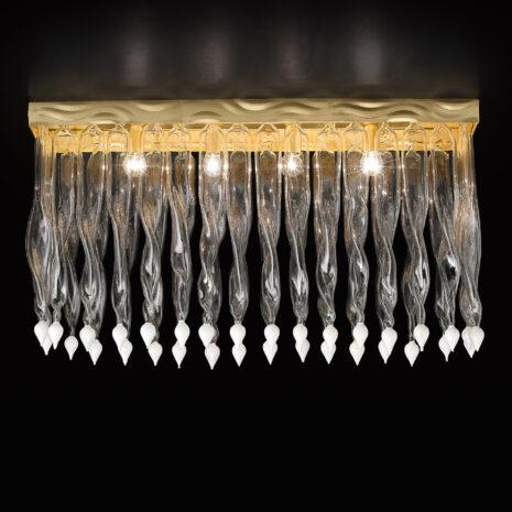 Plafoniera dai decori in vetro di Murano variopinti, struttura in foglia oro o foglia argento: Alaska 531-PL