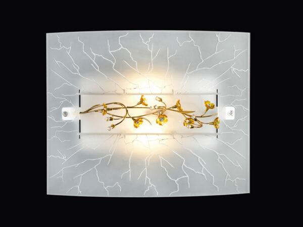 Plafoniera dal vetro termoformato con decoro di un vetro crepato e un ramo floreale di svariati colori in cristallo: Primavera 700-PL