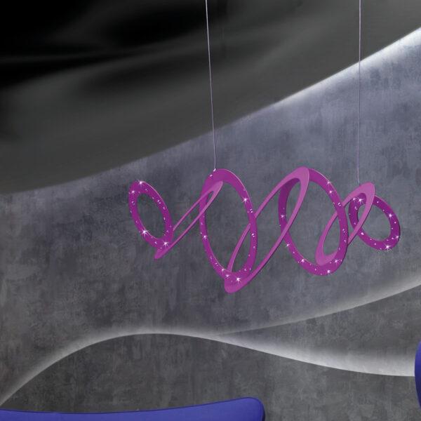 Sospensione moderna e di design in anelli concentrici di metallo verniciato: Cassiopea 800-S