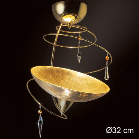 Vertigo 460-PL30 : Lampadario moderna con cristalli Swarovski e vetro